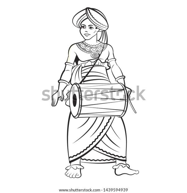 Black White Sri Lankan Traditional Drummer Stock Illustration 1439594939