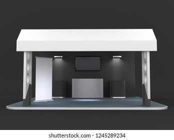Black And White Stand, Booth, Kiosk, Stall. 3D render