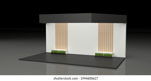 Black And White Stand, Booth, Kiosk, Stall. 3D render mockup for online or offline exhibition