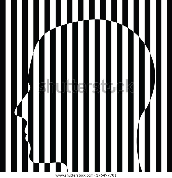black white striped human head/ optic art/ illustration