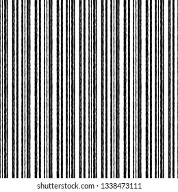 Black white striped rough grunge seamless pattern background.