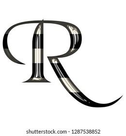 Black and white striped shiny glass letter R in a 3D illustration with a glossy metallic style with highlights in an old style font isolated on white with clipping path