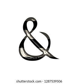 5494737bf157 Black and white striped shiny glass ampersand or and sign symbol in a 3D  illustration with