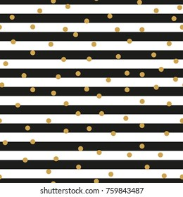 Black and white stripes and gold circles seamless pattern