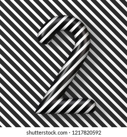 Black and white stripes Number 2 TWO 3D render illustration