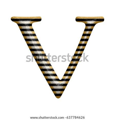 Black White Stripes Uppercase Capital Letter Stock Illustration