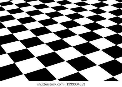 black and white surface at an angle in the form of a chessboard.