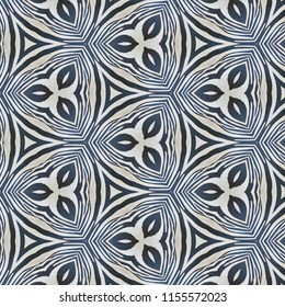 Black and white symmetrical geometric pattern with lines and leaf shapes. Abstract design, illustration for wallpaper, fabric, print