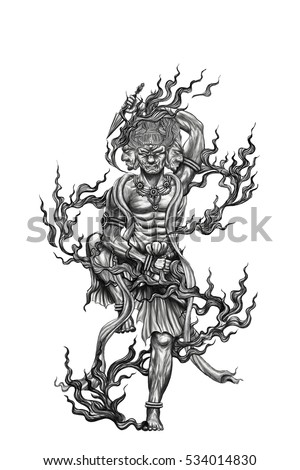 Black White Tattoo God Titan Japan Stock Illustration Royalty Free
