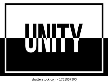 A black and white text illustration about unity and togetherness against discrimination and racial prejudice