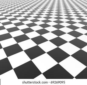 Black and White Tiles - 3d illustration