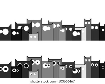 black and white town of cats