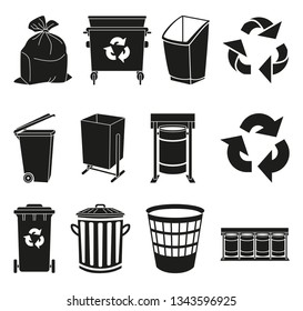 Black and white trash element silhouette collection. Garbage bins and bags. Waste disposal themed illustration for icon, logo, stamp, label, emblem, certificate, leaflet or banner decoration