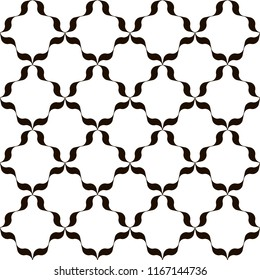 Black and white trellis background. Monochrome lattice pattern with wavy ribbons. Modern print for interior or fashion surface design. Raster seamless repeat.