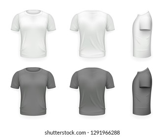 Black and White T-shirt Front Side Back View Template Realistic Design Icon Transparent Background Isolated  illustration