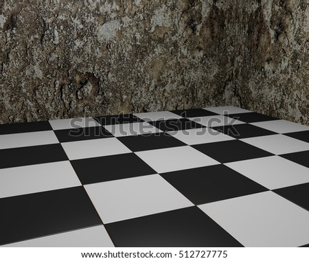Black And White Vintage Floor Tiles Background With Grungy Walls Checkered Texture As Modern Interior