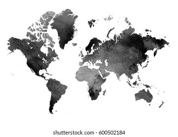 Black and white vintage map of the world. Horizontal background