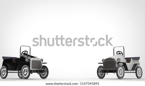 Black and white vintage toy cars - 3D Illustration