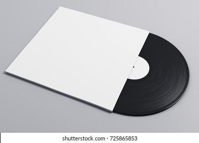 Black and white vinyl sleeve on gray background. Vintage concept. Mock up, 3D Rendering