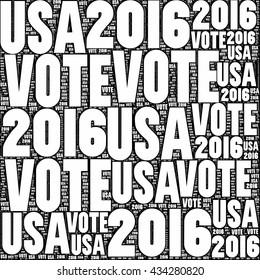 Black and white VOTE USA 2016 sign.