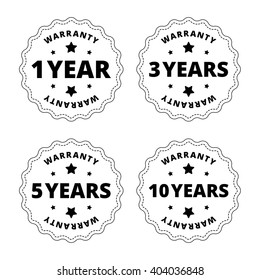 Black and white warranty stickers.