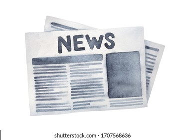 """Black and white water color illustration of folded grunge newspaper with big title """"News"""". Hand painted watercolour sketchy drawing, cutout clip art element for design, card, print, banner, web site."""