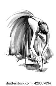 black white watercolor ballerina, hand drawn illustration