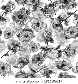 Black and white watercolor floral seamless pattern