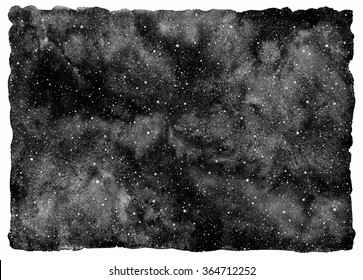 Black and white watercolor night sky with stars. Monochrome cosmos background. Watercolour stains and tiny dots splash texture - snow or stars template. Rough, uneven edges.