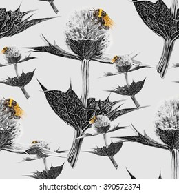 Black and white watercolor seamless abstract floral pattern with thistle , bee