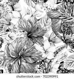 Black and white watercolor vintage tropical flowers seamless pattern. Exotic floral, Plumeria, Chinese Hibiscus, Twigs, Butterflies and Leaves. Botanical classic illustration on white background.