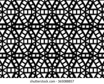 Black and white wavy geometric medallion pattern. A circular medallion with wavy triangles, squares, rectangles, and hexagon repeated and overlapped.