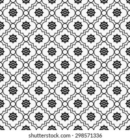 Black and White Wheel of Dharma Symbol Tile Pattern Repeat Background that is seamless and repeats