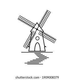 Black and White Windmill with Blades Isolated on White Background. Silhouette of Rural Tower. Raster Illustration