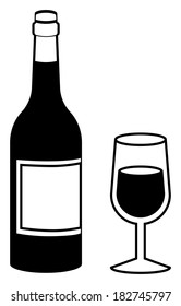Black and White Wine Bottle with Full Wine Glass Illustration