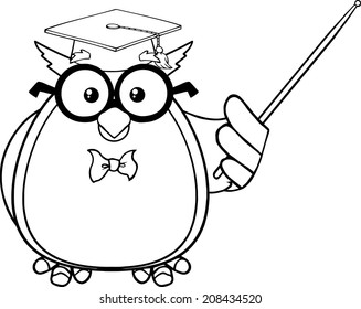 Black And White Wise Owl Teacher Cartoon Mascot Character With A Pointer. Raster Illustration Isolated on white