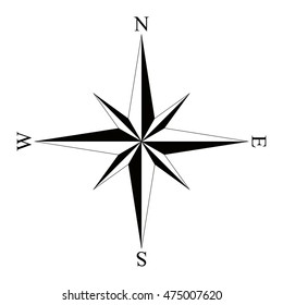 Black wind rose compass isolated on white. Compass Icon Graphic. Nautical design elements. Compass Rose. Wind rose.