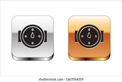 Black Wind rose icon isolated on white background. Compass icon for travel. Navigation design. Silver-gold square button.