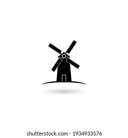 Black windmills icon with shadow