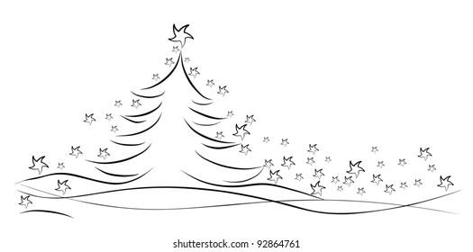 Black winter tree with stars