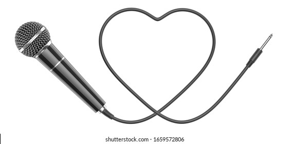 Black wired mic isolated on a white background. 3D rendering illustration of Microphone with wire in the shape of heart as a concept of love for music.