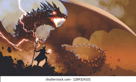 black wizard with a magic wand summoning the dragon, digital art style, illustration painting
