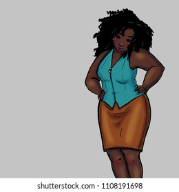 Black woman with curly hair and office clothes
