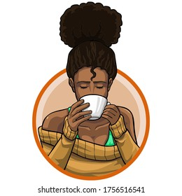 Black woman in high bun or updo hairstyle holding white mug and drinking coffee or tea