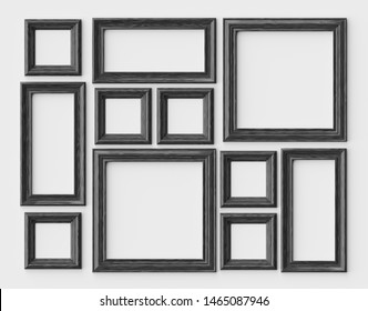 Black wood blank photo or picture frames on white wall with shadows, decorative wooden picture frames template set, art frame mock-up 3D illustration