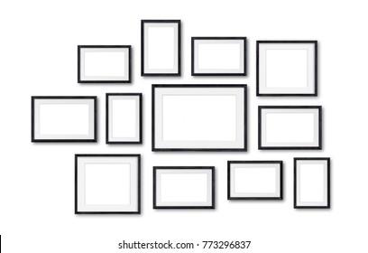 Black wooden frames mockup, twelve frameworks collage, 3d illustration
