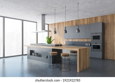 Black and wooden kitchen set on marble floor, side view, wooden cutting table with spaces for bottles. Kitchen room set with cutting table and bar chairs, 3D rendering, no people