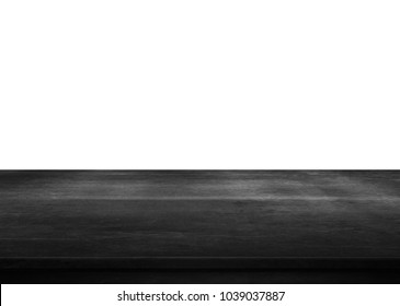 Black wooden tabletop on white background.