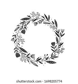 black wreath  -  Digital hand drawn illustration of a simple whimsical floral wreath