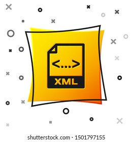 Black XML file document icon. Download xml button icon isolated on white background. XML file symbol. Yellow square button